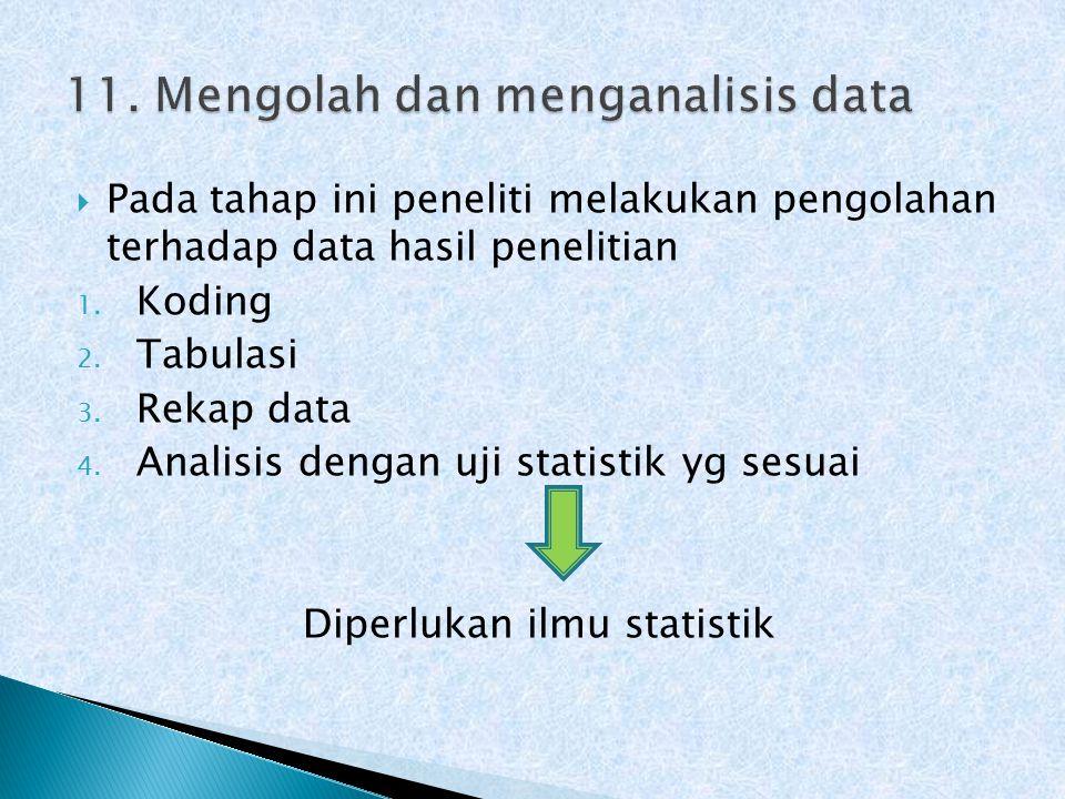  Pada tahap ini peneliti melakukan pengolahan terhadap data hasil penelitian 1.