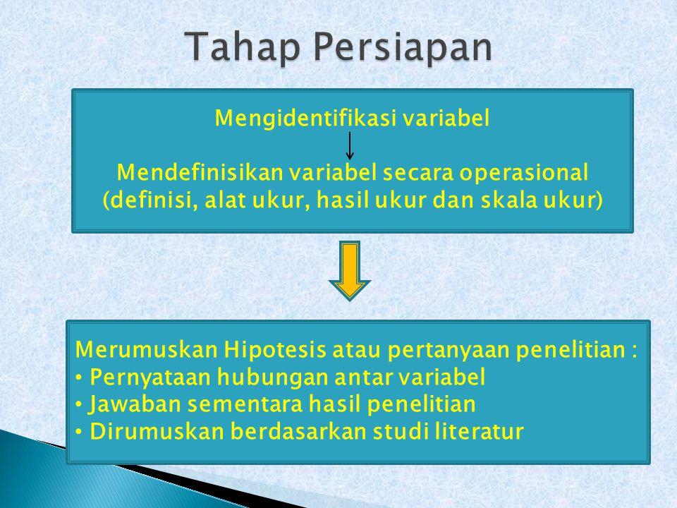 Mengidentifikasi variabel Mendefinisikan variabel secara operasional (definisi, alat ukur, hasil ukur dan skala ukur) Merumuskan Hipotesis atau pertanyaan penelitian : Pernyataan hubungan antar variabel Jawaban sementara hasil penelitian Dirumuskan berdasarkan studi literatur