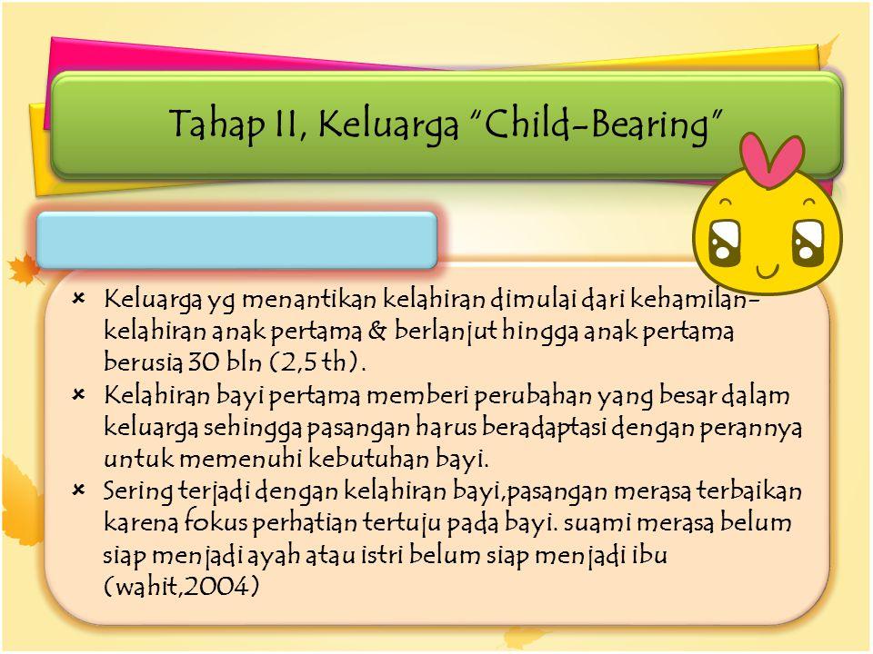  Keluarga yg menantikan kelahiran dimulai dari kehamilan- kelahiran anak pertama & berlanjut hingga anak pertama berusia 30 bln (2,5 th).