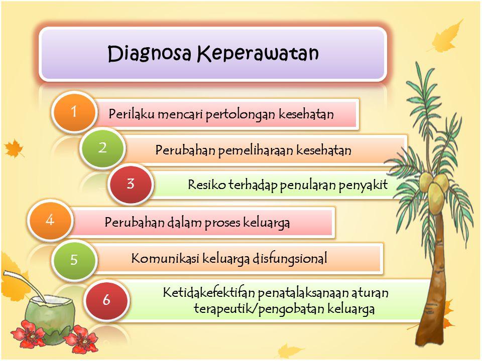Perilaku mencari pertolongan kesehatan Perubahan pemeliharaan kesehatan Resiko terhadap penularan penyakit Perubahan dalam proses keluarga Komunikasi