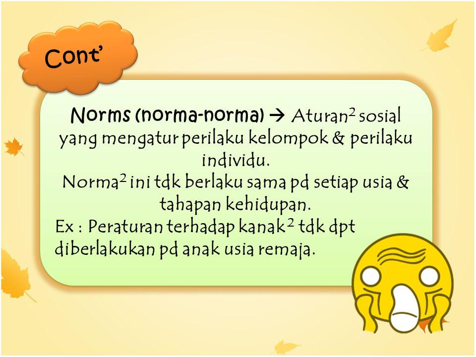 Norms (norma-norma)  Aturan 2 sosial yang mengatur perilaku kelompok & perilaku individu. Norma 2 ini tdk berlaku sama pd setiap usia & tahapan kehid
