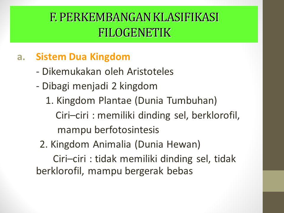 F. PERKEMBANGAN KLASIFIKASI FILOGENETIK a.Sistem Dua Kingdom - Dikemukakan oleh Aristoteles - Dibagi menjadi 2 kingdom 1. Kingdom Plantae (Dunia Tumbu