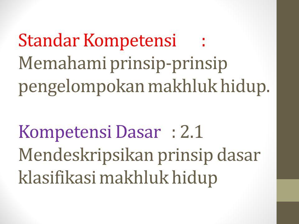 Standar Kompetensi : Memahami prinsip-prinsip pengelompokan makhluk hidup. Kompetensi Dasar : 2.1 Mendeskripsikan prinsip dasar klasifikasi makhluk hi