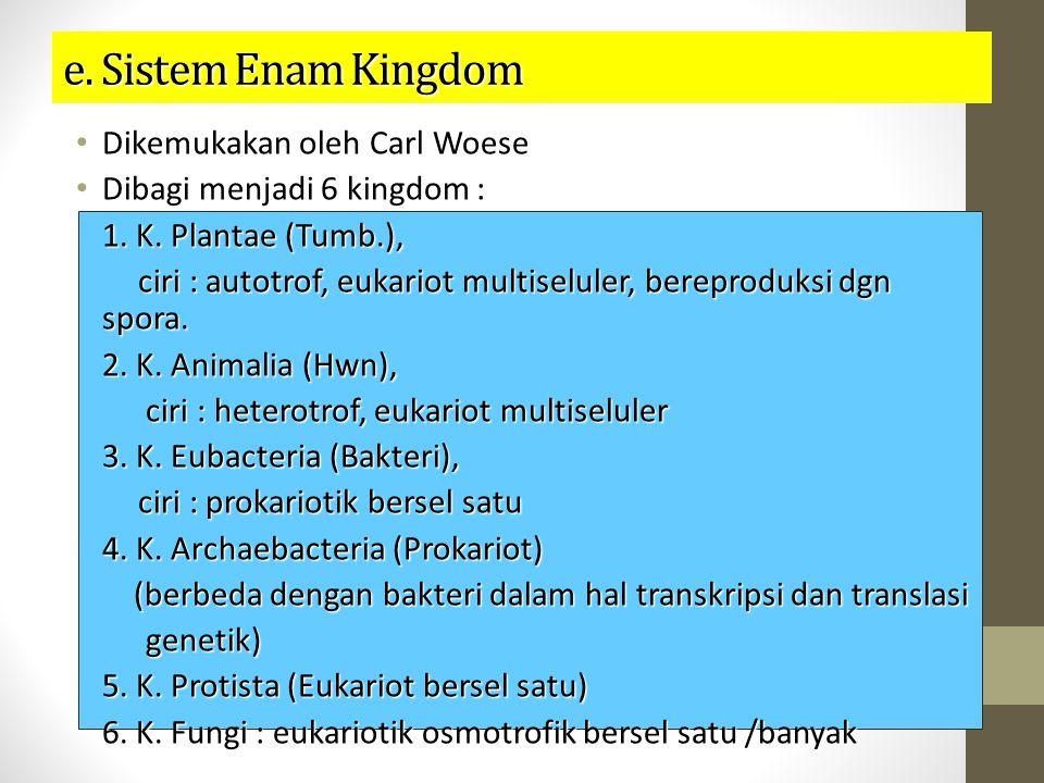 e. Sistem Enam Kingdom Dikemukakan oleh Carl Woese Dikemukakan oleh Carl Woese Dibagi menjadi 6 kingdom : Dibagi menjadi 6 kingdom : 1. K. Plantae (Tu