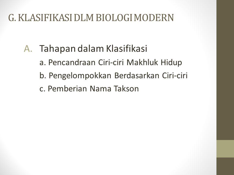 G. KLASIFIKASI DLM BIOLOGI MODERN A.Tahapan dalam Klasifikasi a. Pencandraan Ciri-ciri Makhluk Hidup b. Pengelompokkan Berdasarkan Ciri-ciri c. Pember