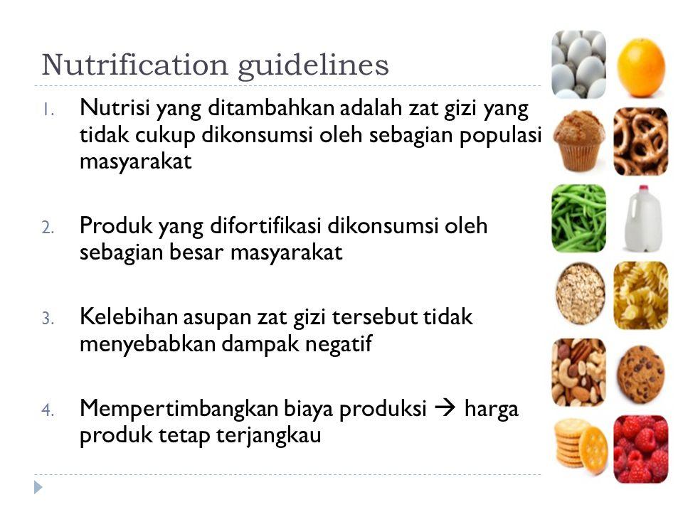 Nutrification guidelines 1. Nutrisi yang ditambahkan adalah zat gizi yang tidak cukup dikonsumsi oleh sebagian populasi masyarakat 2. Produk yang difo