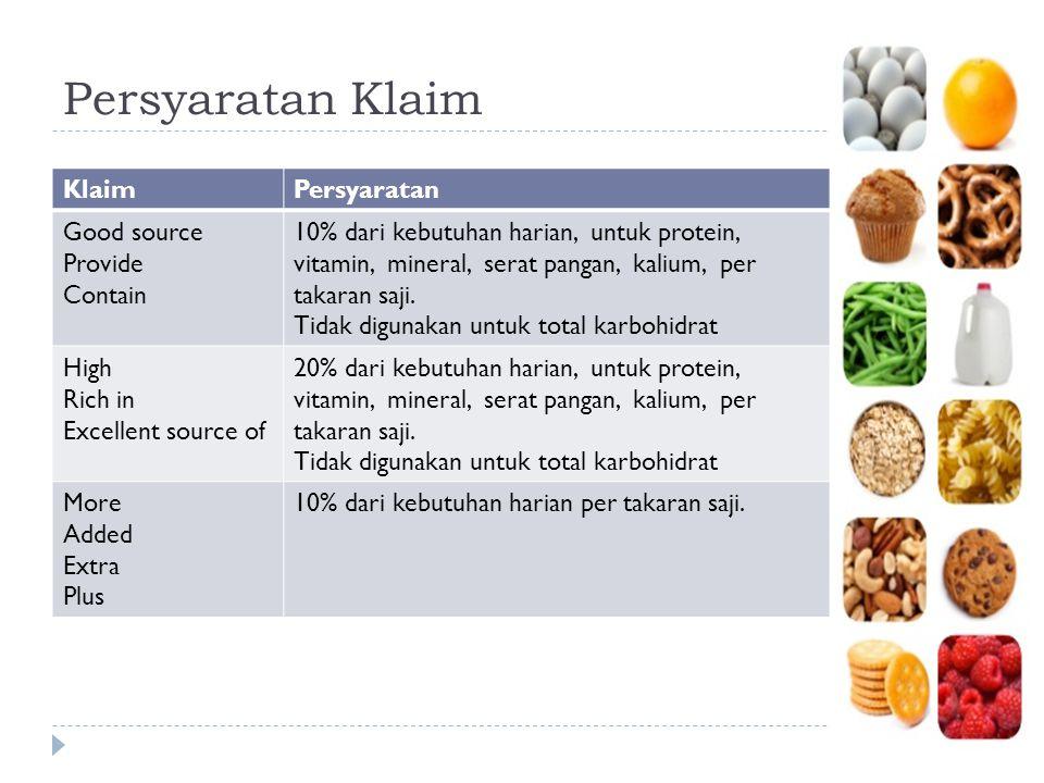 Persyaratan Klaim KlaimPersyaratan Good source Provide Contain 10% dari kebutuhan harian, untuk protein, vitamin, mineral, serat pangan, kalium, per t