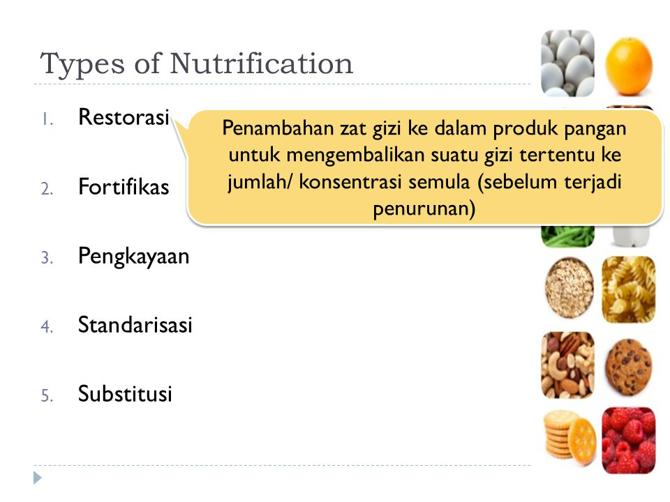 Types of Nutrification 1. Restorasi 2. Fortifikas 3. Pengkayaan 4. Standarisasi 5. Substitusi Penambahan zat gizi ke dalam produk pangan untuk mengemb