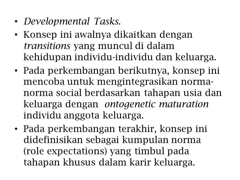 Developmental Tasks. Konsep ini awalnya dikaitkan dengan transitions yang muncul di dalam kehidupan individu-individu dan keluarga. Pada perkembangan