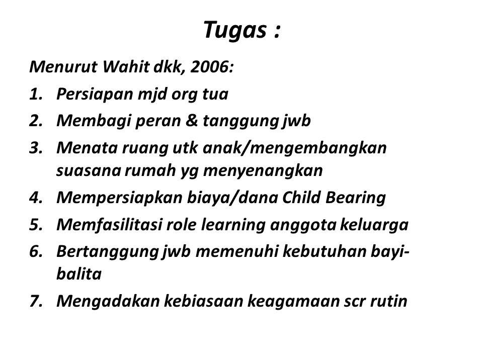 Tugas : Menurut Wahit dkk, 2006: 1.Persiapan mjd org tua 2.Membagi peran & tanggung jwb 3.Menata ruang utk anak/mengembangkan suasana rumah yg menyena