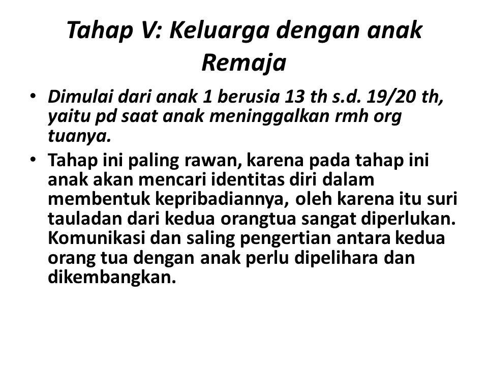 Tahap V: Keluarga dengan anak Remaja Dimulai dari anak 1 berusia 13 th s.d. 19/20 th, yaitu pd saat anak meninggalkan rmh org tuanya. Tahap ini paling