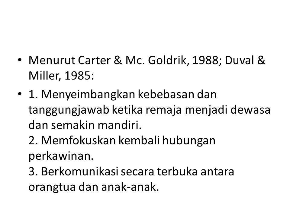 Menurut Carter & Mc.Goldrik, 1988; Duval & Miller, 1985: 1.