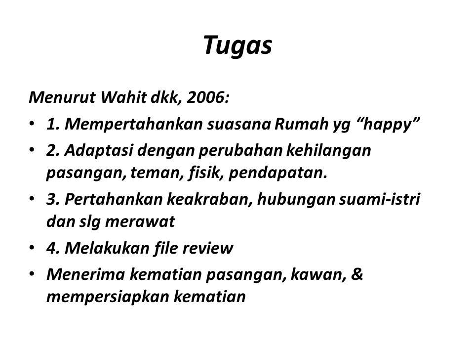 "Tugas Menurut Wahit dkk, 2006: 1. Mempertahankan suasana Rumah yg ""happy"" 2. Adaptasi dengan perubahan kehilangan pasangan, teman, fisik, pendapatan."
