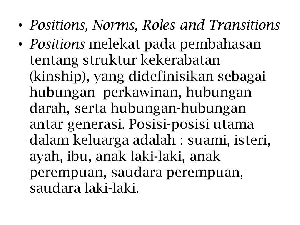 Positions, Norms, Roles and Transitions Positions melekat pada pembahasan tentang struktur kekerabatan (kinship), yang didefinisikan sebagai hubungan perkawinan, hubungan darah, serta hubungan-hubungan antar generasi.