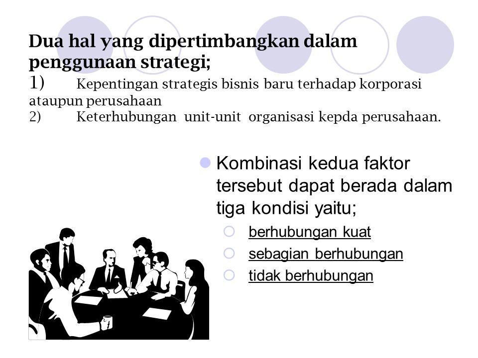 Dua hal yang dipertimbangkan dalam penggunaan strategi; 1) Kepentingan strategis bisnis baru terhadap korporasi ataupun perusahaan 2)Keterhubungan unit-unit organisasi kepda perusahaan.