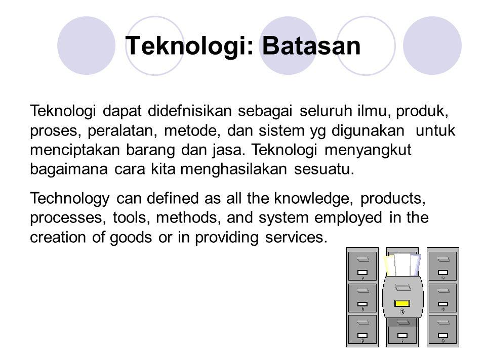 Teknologi: Batasan Teknologi dapat didefnisikan sebagai seluruh ilmu, produk, proses, peralatan, metode, dan sistem yg digunakan untuk menciptakan barang dan jasa.