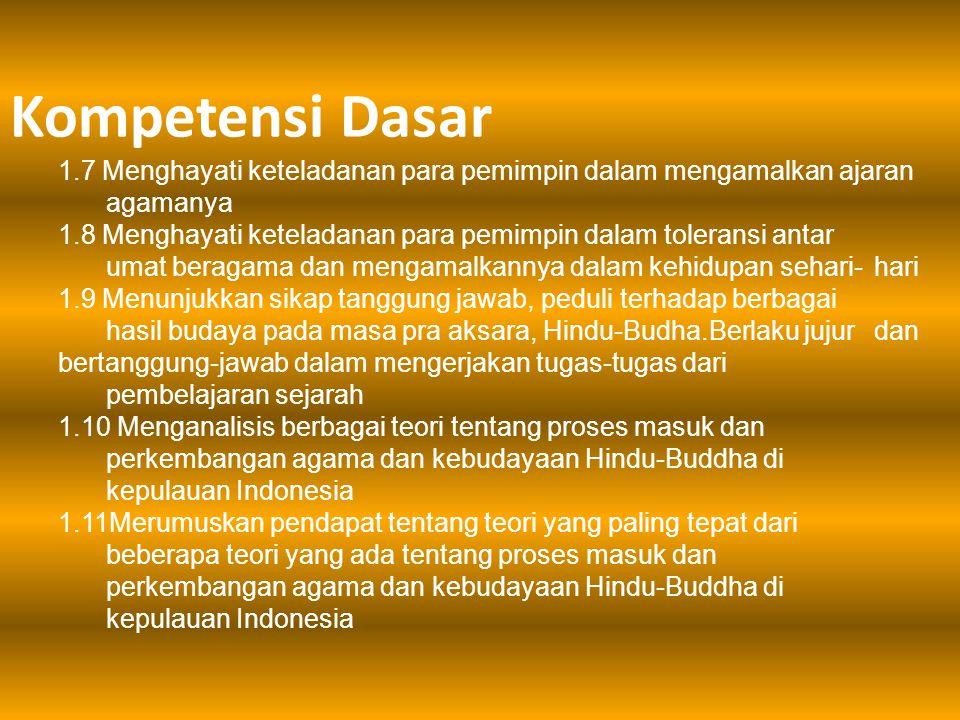  Menunjukkan nilai-nilai syukur pada ciptaan Tuhan YME berupa hasil budaya masa Hindu- Budha di Indonesia  Menunjukkan nilai-nilai toleransi antar umat beragama dengan saling menghargai peninggalan hasil budaya masa Hindu-Budha di kepulauan Indonesia  Menunjukkan sikap tanggung jawab terhadap peninggalan hasil budaya Hindu-budha di Indonesia