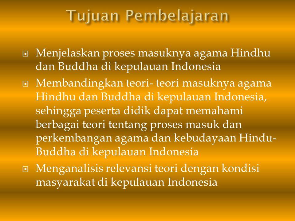 Materi Pembelajaran Masuknya agama Hindhu dan Buddha di kepulauan Indonesia Teori- Teori Masuknya agama Hindu Budha Di Indonesia 1.Teori Brahmana 2.Teori Ksatria 3.Teori Waisya 4.Teori Sudra 5.Teori Arus Balik