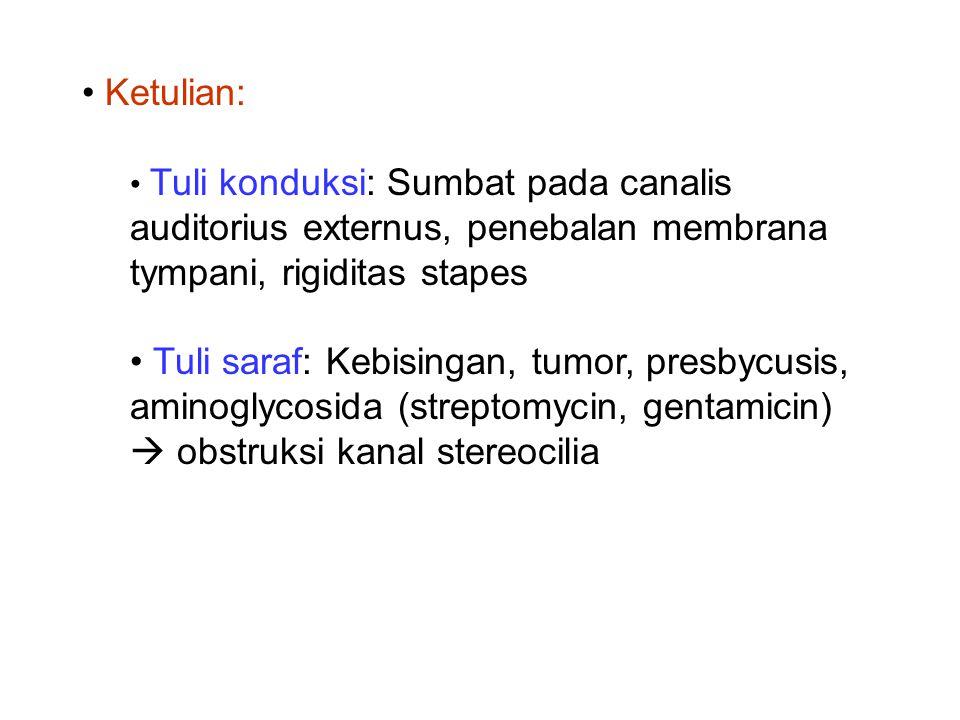 Ketulian: Tuli konduksi: Sumbat pada canalis auditorius externus, penebalan membrana tympani, rigiditas stapes Tuli saraf: Kebisingan, tumor, presbycu