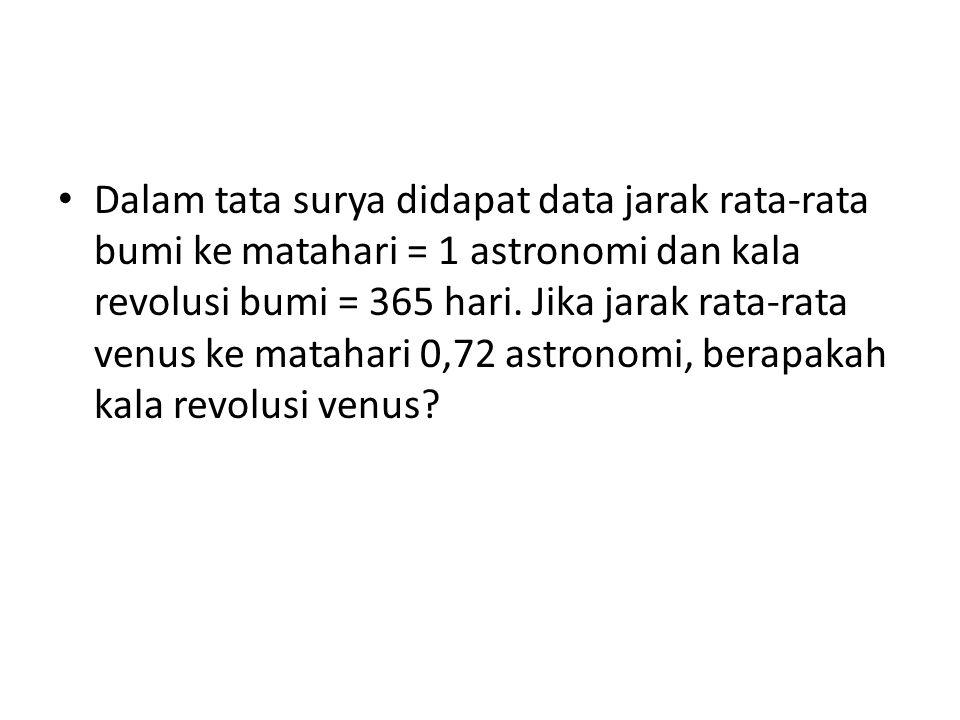 Dalam tata surya didapat data jarak rata-rata bumi ke matahari = 1 astronomi dan kala revolusi bumi = 365 hari. Jika jarak rata-rata venus ke matahari