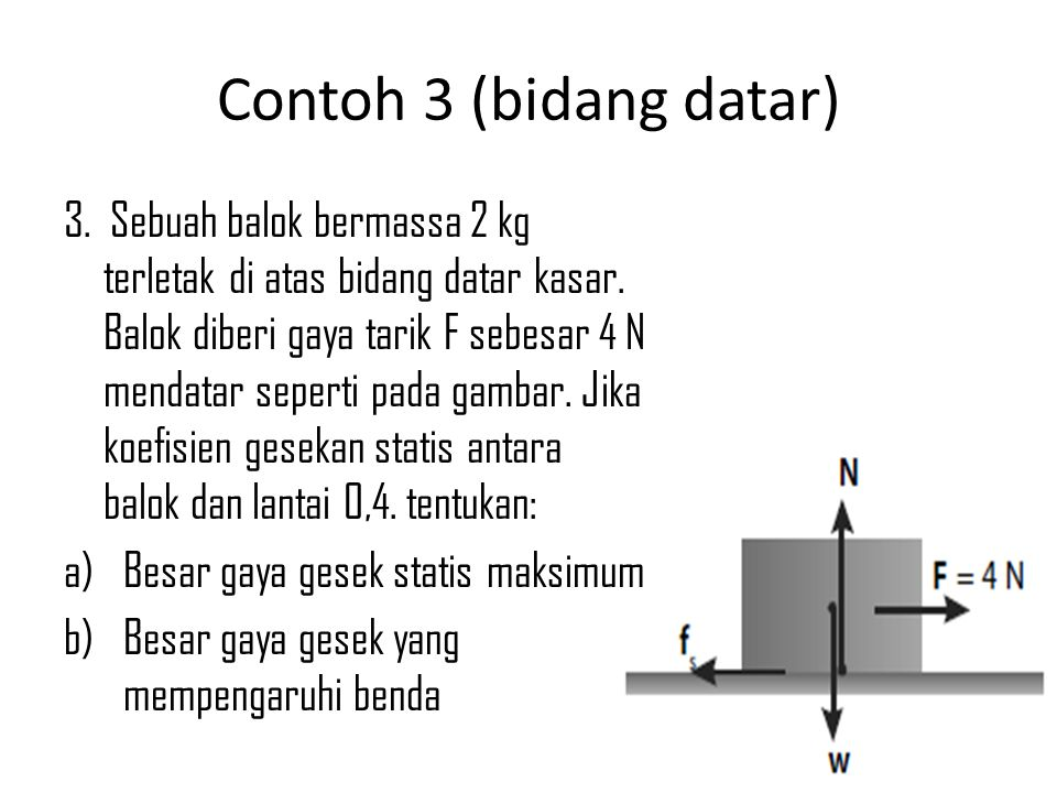 Contoh 3 (bidang datar) 3. Sebuah balok bermassa 2 kg terletak di atas bidang datar kasar. Balok diberi gaya tarik F sebesar 4 N mendatar seperti pada
