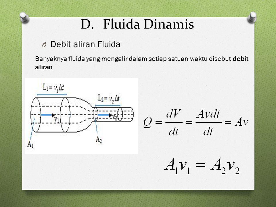 D.Fluida Dinamis O Debit aliran Fluida Banyaknya fluida yang mengalir dalam setiap satuan waktu disebut debit aliran