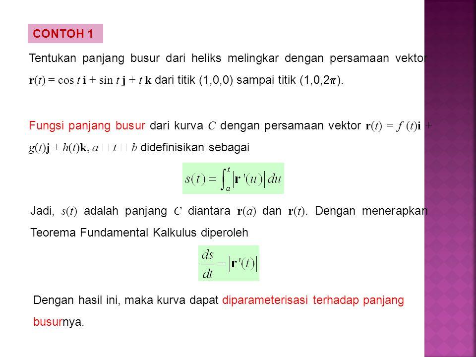 Tentukan panjang busur dari heliks melingkar dengan persamaan vektor r(t) = cos t i + sin t j + t k dari titik (1,0,0) sampai titik (1,0,2  ). CONTOH