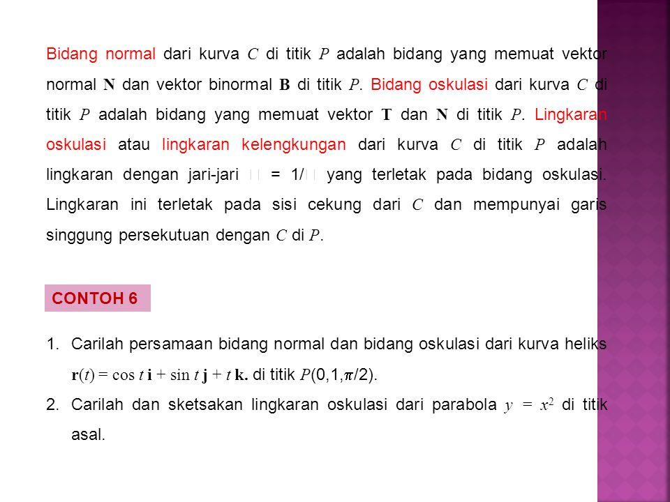Bidang normal dari kurva C di titik P adalah bidang yang memuat vektor normal N dan vektor binormal B di titik P. Bidang oskulasi dari kurva C di titi