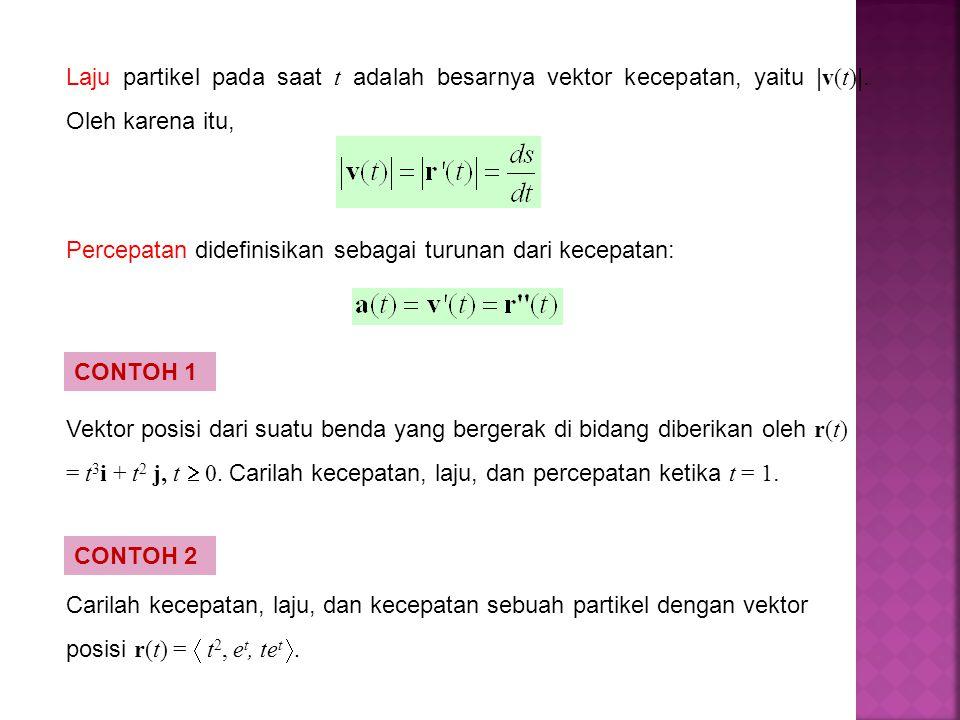 Laju partikel pada saat t adalah besarnya vektor kecepatan, yaitu | v(t) |. Oleh karena itu, Percepatan didefinisikan sebagai turunan dari kecepatan: