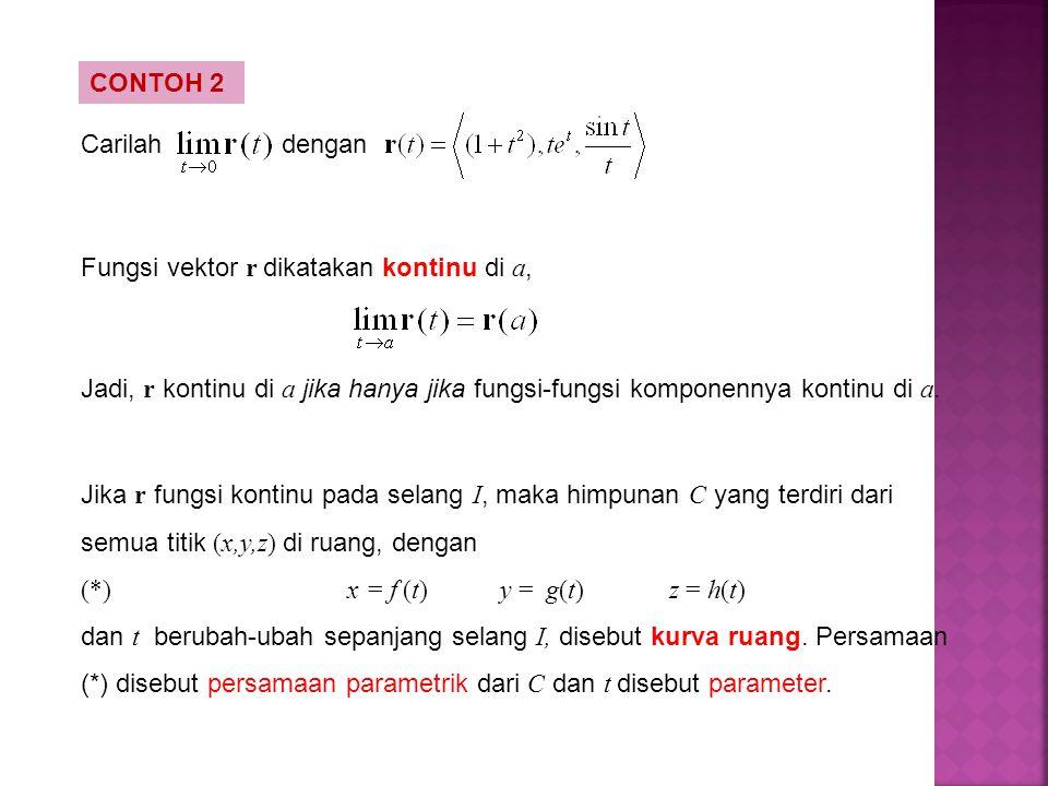 CONTOH 2 Carilahdengan Fungsi vektor r dikatakan kontinu di a, Jadi, r kontinu di a jika hanya jika fungsi-fungsi komponennya kontinu di a. Jika r fun