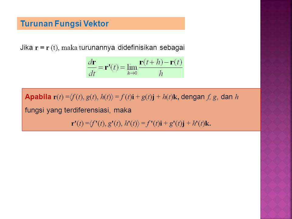 Turunan Fungsi Vektor Jika r = r (t), maka t urunannya didefinisikan sebagai Apabila r(t) =  f (t), g(t), h(t)  = f (t)i + g(t)j + h(t)k, dengan f,