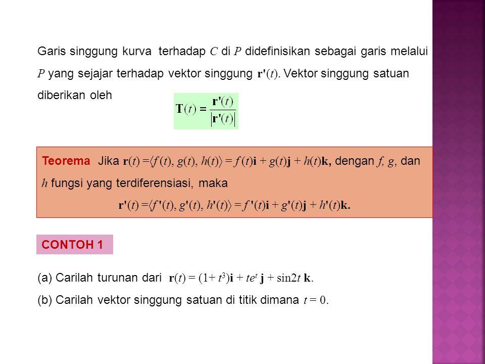 Teorema Jika r(t) =  f (t), g(t), h(t)  = f (t)i + g(t)j + h(t)k, dengan f, g, dan h fungsi yang terdiferensiasi, maka r'(t) =  f '(t), g'(t), h'(t