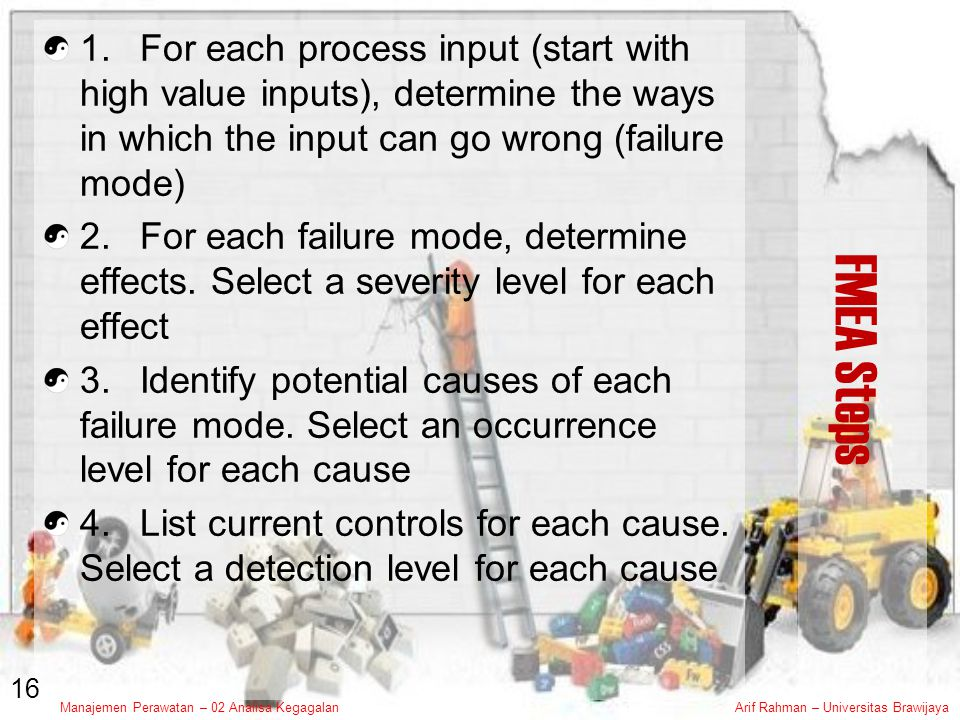 Manajemen Perawatan – 02 Analisa KegagalanArif Rahman – Universitas Brawijaya FMEA Steps 1.For each process input (start with high value inputs), determine the ways in which the input can go wrong (failure mode) 2.For each failure mode, determine effects.