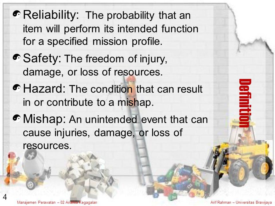 Manajemen Perawatan – 02 Analisa KegagalanArif Rahman – Universitas Brawijaya Failure Mode & Effect Analysis Failure Mode & Effect Analysis (FMEA) merupakan metode analisis manual untuk menentukan konsekuen dari kegagalan komponen, modul atau subsistem FMEA berwujud tabel spreadsheet yang mengidentifikasi macam kegagalan ( failure mode ), akibat kegagalan ( failure effect ), penyebab ( possible causes ), frekuensi kejadian ( probability of occurrence ), dampak kegagalan ( severity ) konsekuenconsequences, and proposed safeguards are noted.