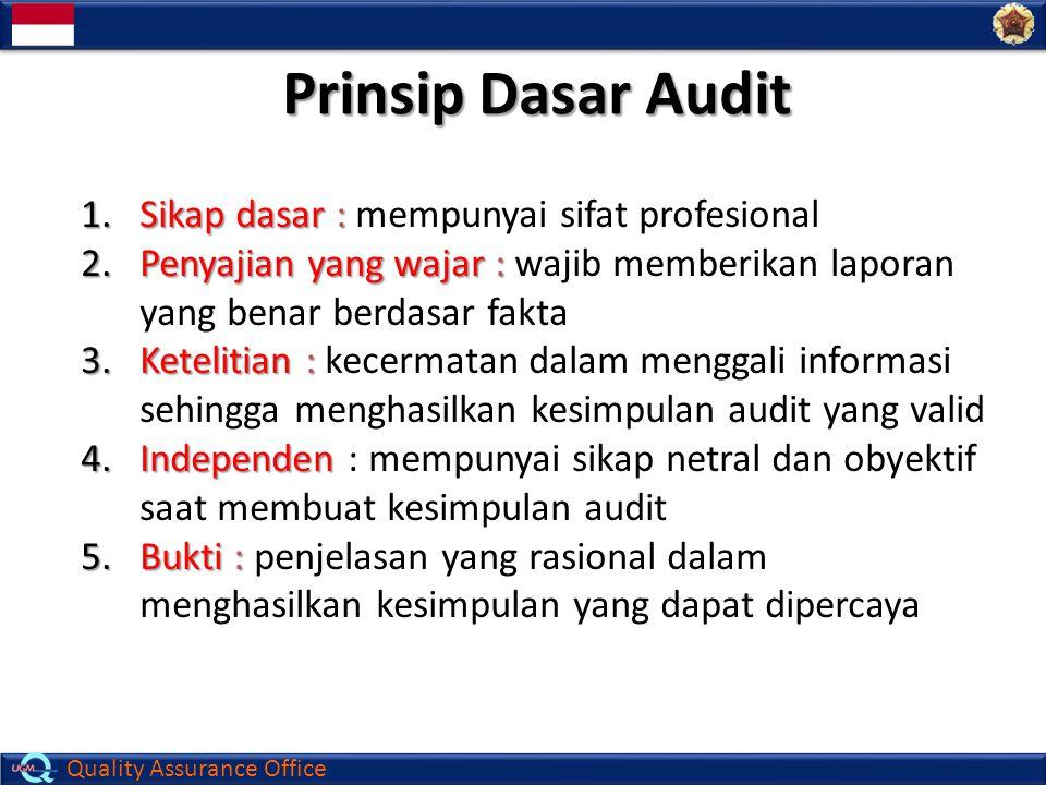 Quality Assurance Office Prinsip Dasar Audit 1.Sikap dasar : 1.Sikap dasar : mempunyai sifat profesional 2.Penyajian yang wajar : 2.Penyajian yang waj