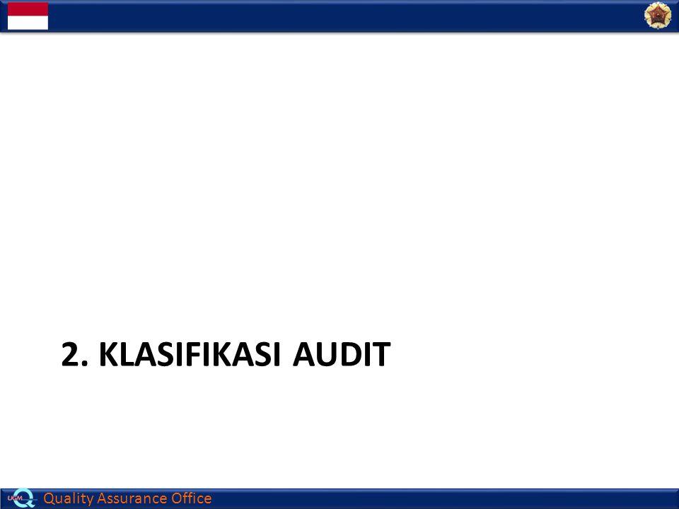 Quality Assurance Office Klasifikasi audit 1.Tipe audit : a.