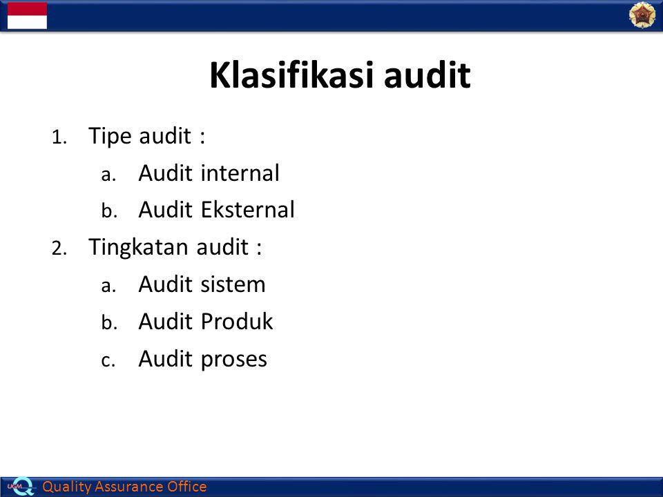 Quality Assurance Office Klasifikasi audit 1. Tipe audit : a. Audit internal b. Audit Eksternal 2. Tingkatan audit : a. Audit sistem b. Audit Produk c