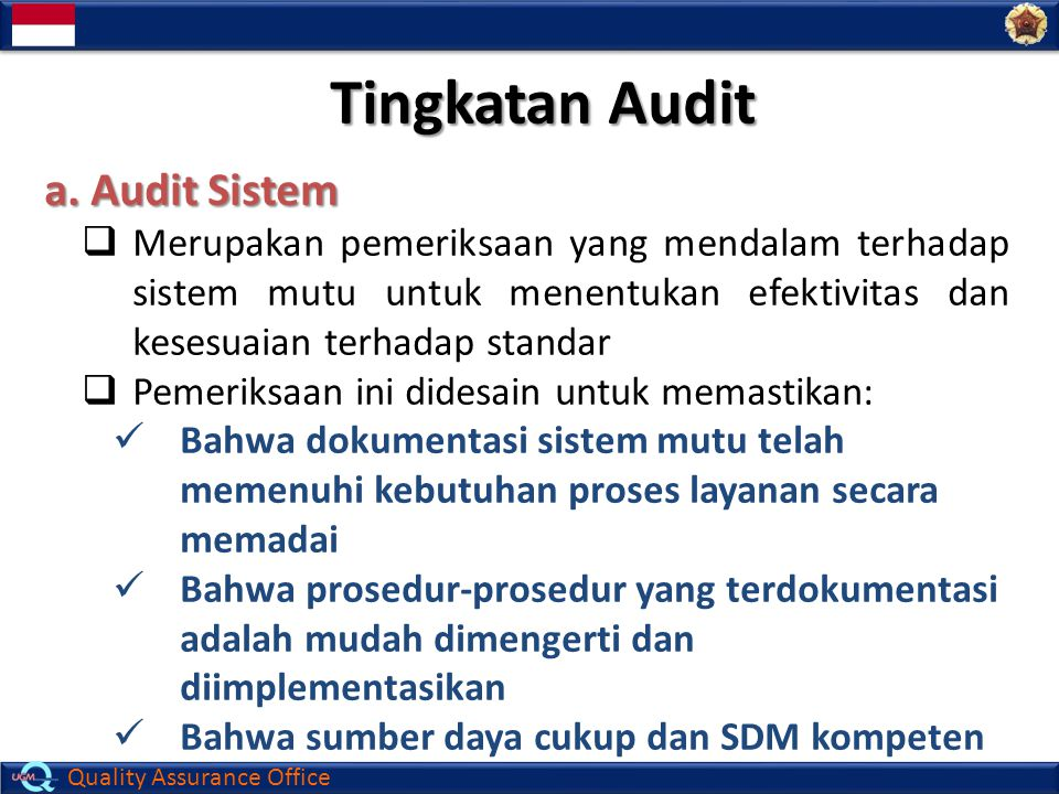 Quality Assurance Office Tingkatan Audit a.