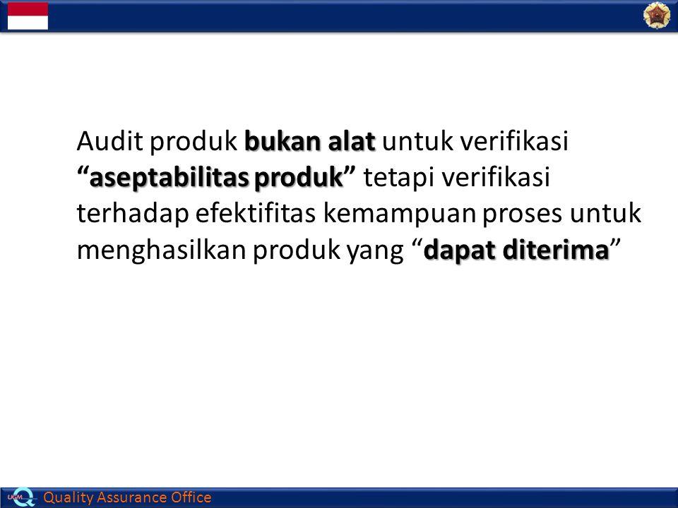 "Quality Assurance Office bukan alat aseptabilitas produk dapat diterima Audit produk bukan alat untuk verifikasi ""aseptabilitas produk"" tetapi verifik"