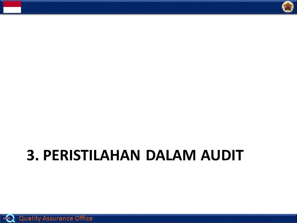 Quality Assurance Office  Klien (Client) Klien adalah organisasi yang mempunyai hak untuk mengatur atau hak kontrak untuk meminta audit  Auditee Organisasi/ unit kerja/ orang yang diaudit  Auditor Orang yang memiliki kemampuan untuk mengadakan audit  Lead Auditor Lead Auditor adalah orang yang ditunjuk untuk mengelola audit dan memimpin pelaksanaan audit dengan dibantu beberapa auditor