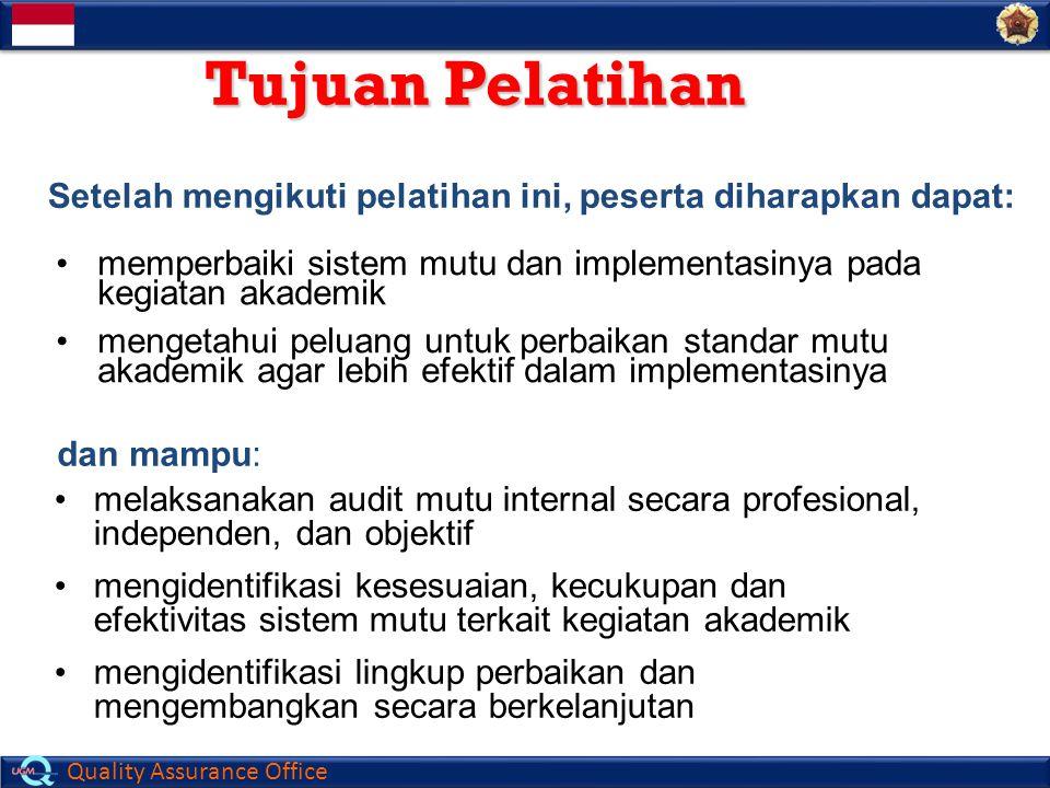 Quality Assurance Office TOPIK BAHASAN 1.Audit Mutu 2.Klasifikasi Audit 3.Peristilahan dalam Audit 4.Perencanaan Audit 5.Pelaksanaan Audit 6.Tinjauan Manajemen