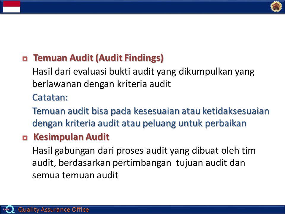 Quality Assurance Office  Temuan Audit (Audit Findings) Hasil dari evaluasi bukti audit yang dikumpulkan yang berlawanan dengan kriteria auditCatatan