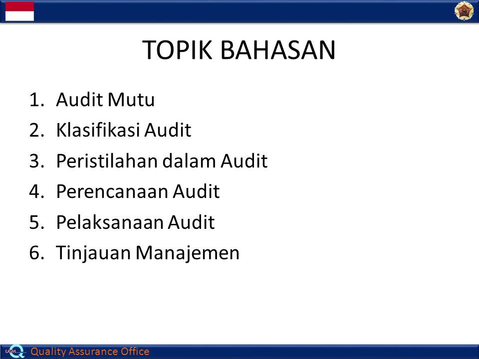 Quality Assurance Office TOPIK BAHASAN 1.Audit Mutu 2.Klasifikasi Audit 3.Peristilahan dalam Audit 4.Perencanaan Audit 5.Pelaksanaan Audit 6.Tinjauan