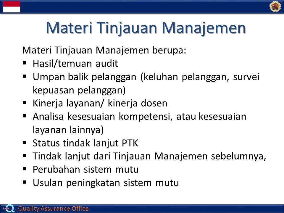Quality Assurance Office Materi Tinjauan Manajemen Materi Tinjauan Manajemen berupa:  Hasil/temuan audit  Umpan balik pelanggan (keluhan pelanggan,