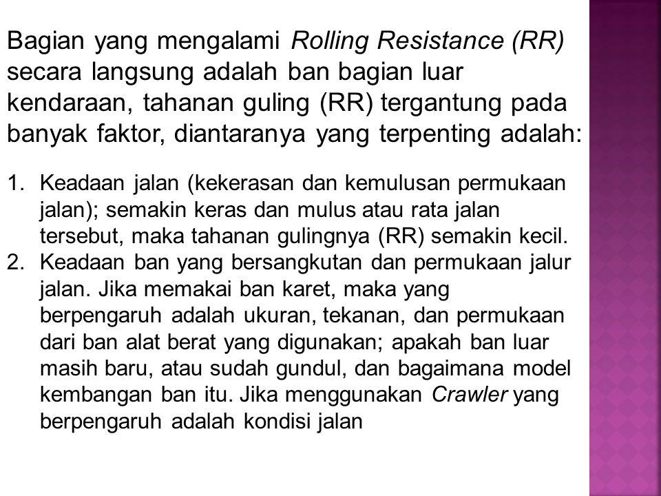 Bagian yang mengalami Rolling Resistance (RR) secara langsung adalah ban bagian luar kendaraan, tahanan guling (RR) tergantung pada banyak faktor, dia