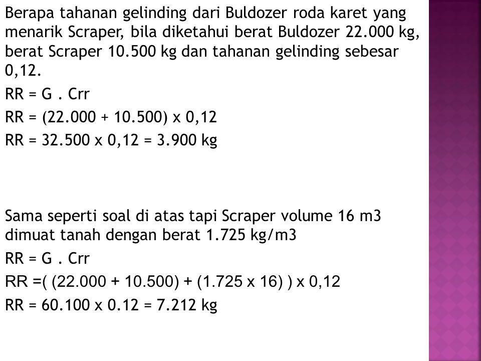 Berapa tahanan gelinding dari Buldozer roda karet yang menarik Scraper, bila diketahui berat Buldozer 22.000 kg, berat Scraper 10.500 kg dan tahanan g