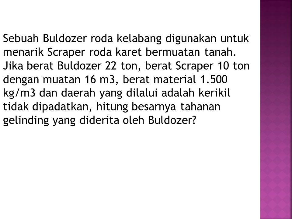 Sebuah Buldozer roda kelabang digunakan untuk menarik Scraper roda karet bermuatan tanah. Jika berat Buldozer 22 ton, berat Scraper 10 ton dengan muat