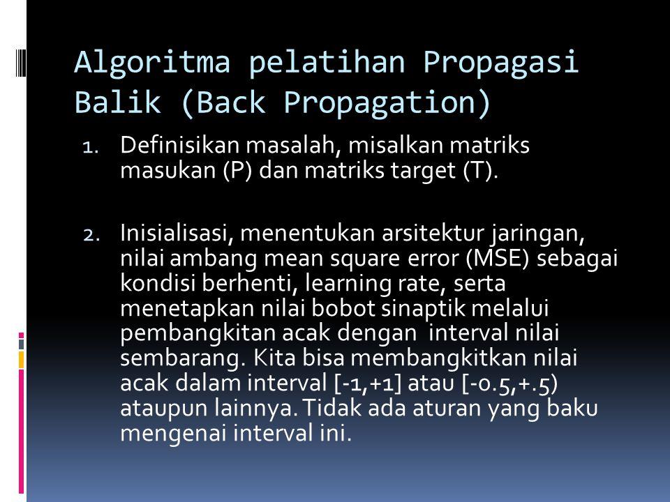 Algoritma pelatihan Propagasi Balik (Back Propagation) 1. Definisikan masalah, misalkan matriks masukan (P) dan matriks target (T). 2. Inisialisasi, m
