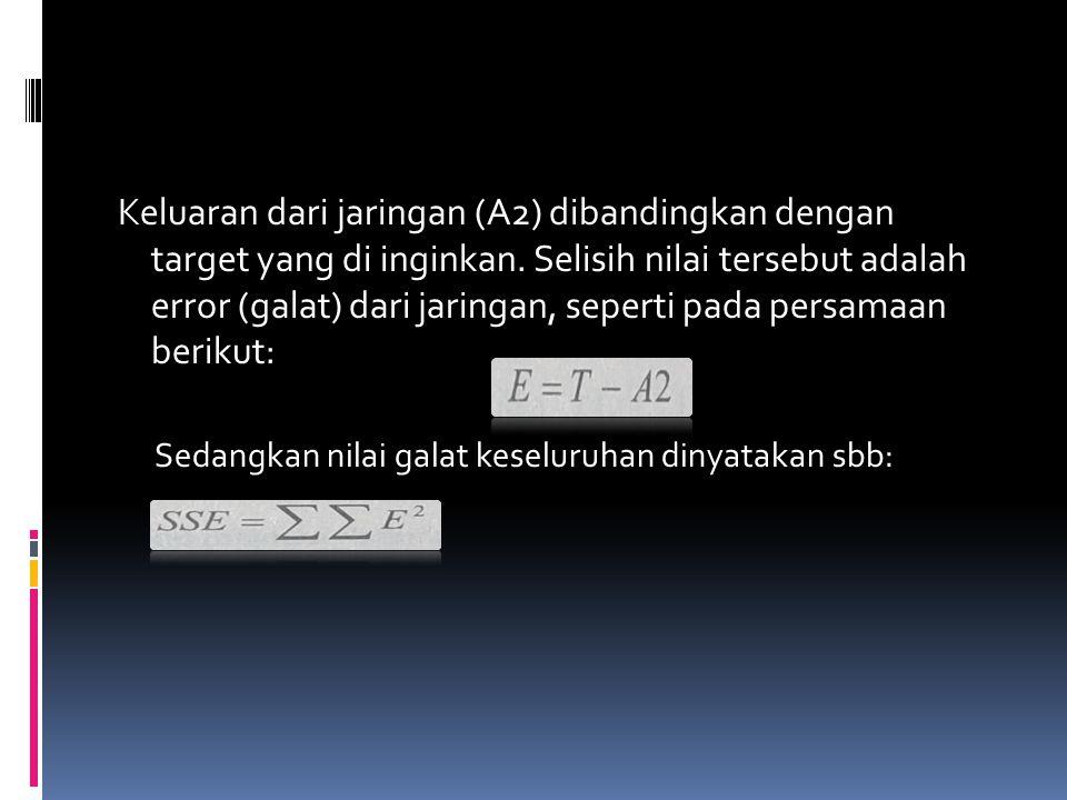 Keluaran dari jaringan (A2) dibandingkan dengan target yang di inginkan. Selisih nilai tersebut adalah error (galat) dari jaringan, seperti pada persa