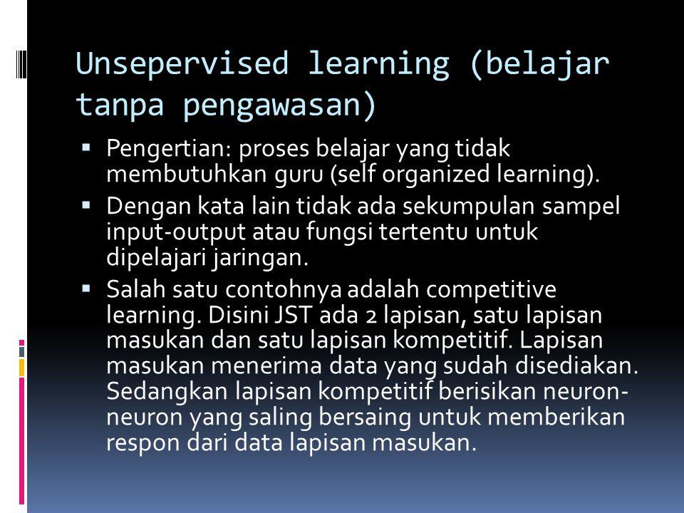 Unsepervised learning (belajar tanpa pengawasan)  Pengertian: proses belajar yang tidak membutuhkan guru (self organized learning).  Dengan kata lai